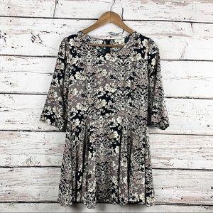 UMGEE Black and Greige Floral Boho Dress EUC